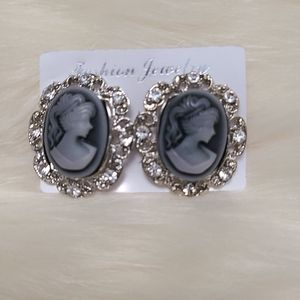 NEW Blue Cameo Post Earrings